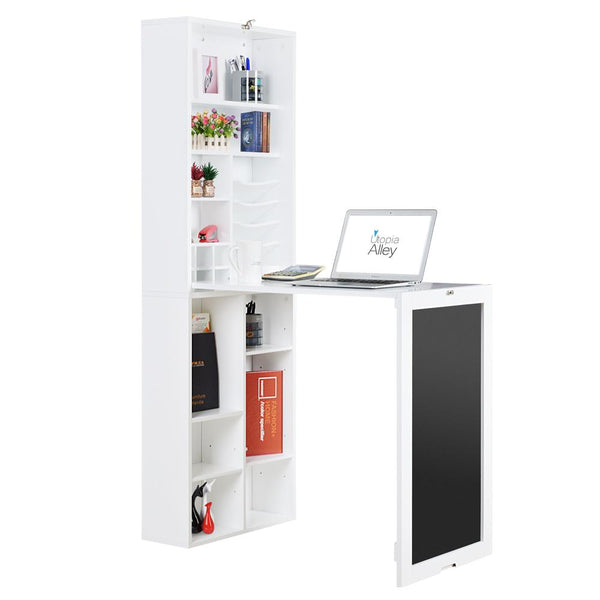 Loft97 Collapsible Fold Down Desk Wall Cabinet with Chalkboard and Bottom Shelves, White