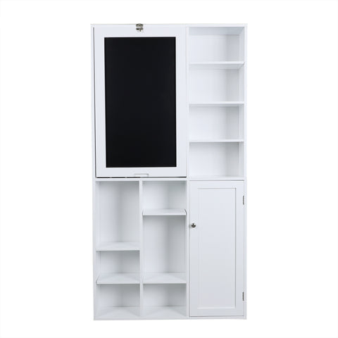 Loft97 Fold-Out Convertible Desk with Large Storage Cabinet, Shelves & Chalkboard, Multi-Function Computer Desk, Writing Desk Home Office Wood Desk, White