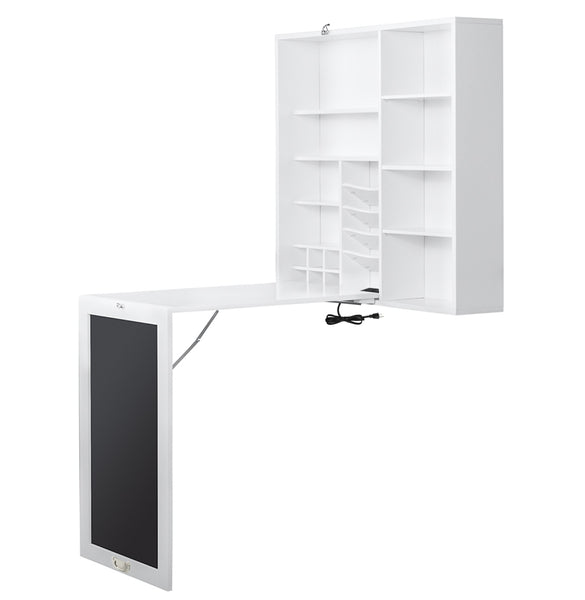 Loft97 Fold-Out Convertible Desk with Large Storage Cabinet, Shelves & Chalkboard, Multi-Function Computer Desk, Writing Desk Home Office Wood Desk, with 2 USB charging ports & 2 Outlet, White