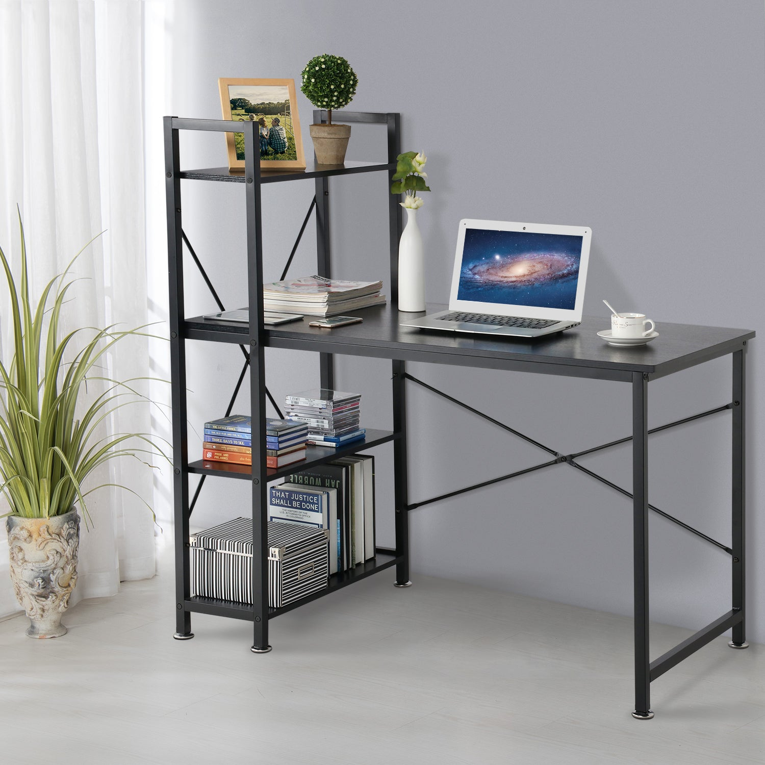 Loft97 Modern Style Computer Desk with 4 Tier Attached Bookshelf, Black