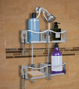 Loft97 Expandable Rustproof Shower Caddy, 4 Baskets, Satin Chrome Finish