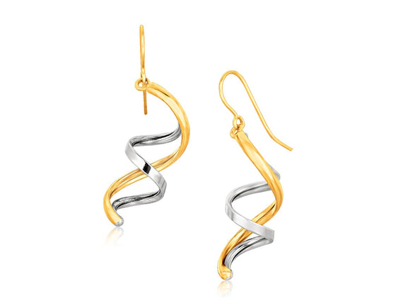 Fancy Polished Double Helix Dangling Earrings in 14k Two Tone Gold