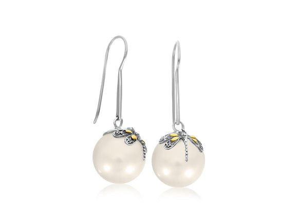 Dragonfly Accented Shell Pearl Earrings in 18k Yellow Gold and Sterling Silver