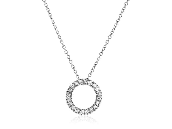 14k White Gold 18 inch Necklace with Gold and Diamond Open Ring Pendant (1/10 cttw)