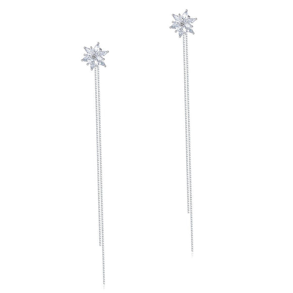 Long Elegant Solid 925 Sterling Silver Earrings Flowers Simulated Diamonds