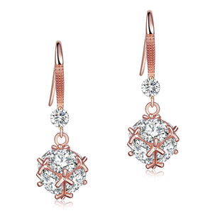Solid 925 Sterling Silver Earrings Rose Gold Plated Created Diamonds