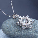 Dancing Stone Snowflake Pendant Necklace 925 Sterling Silver Good for Bridal Bridesmaid Gift XFN8055
