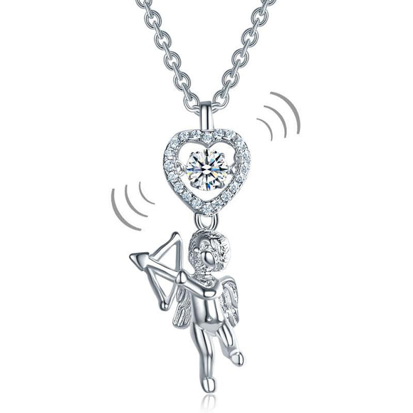 Love Angel Heart Dancing Stone Kids Girl Pendant Necklace 925 Sterling Silver Children Jewelry XFN8070