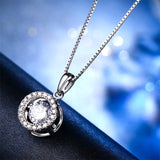 Dancing Stone 1 Carat Pendant Necklace 925 Sterling Silver Good for Wedding Bridesmaid Gift XFN8099