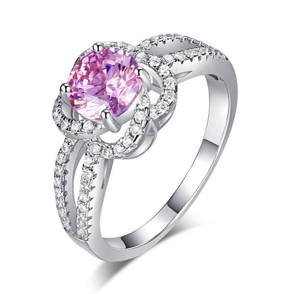 Floral 925 Sterling Silver Wedding Promise Anniversary Ring 1 Ct Fancy Pink Created Diamond Jewelry XFR8250