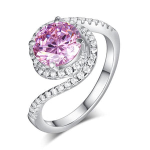 Twist Curl 925 Sterling Silver Wedding Engagement Ring 2 Ct Fancy Pink Created Diamond Promise Anniversary XFR8260