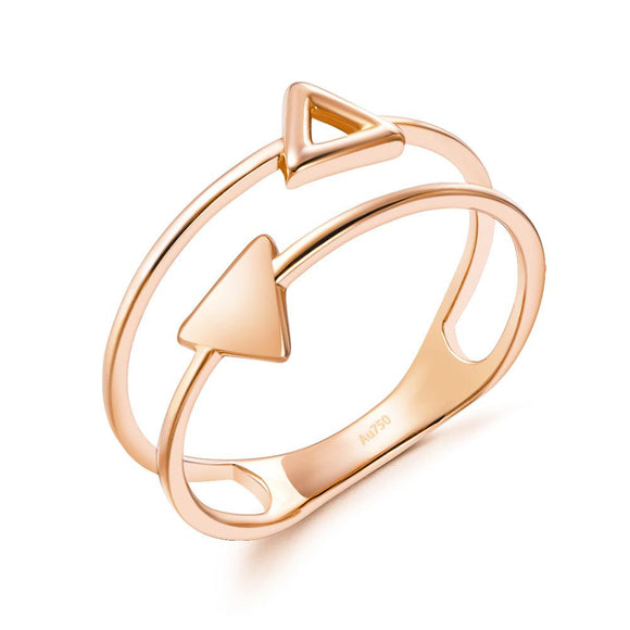 Solid 18K/750 Rose Gold Triangle Pattern Ring