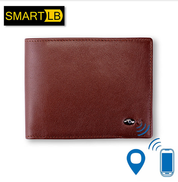 Smart wallet made of genuine leather with gps alarm card, alarm clock with Bluetooth men's wallet, black