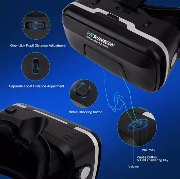 3D / VR glasses with stereo headphones and gamepad