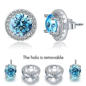 2.5 Carat Round Blue Halo (Removable) Stud 925 Sterling Silver Earrings Jewelry XFE8128