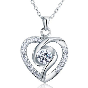 Created Diamond Heart 925 Sterling Silver Pendant Necklace XFN8032