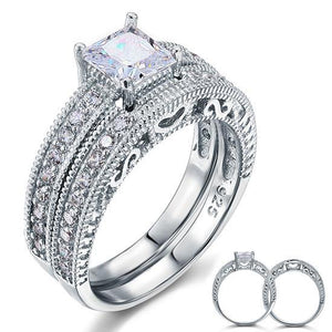 Vintage Style Victorian Art Deco 1 Carat CZ Created Diamond Solid Sterling 925 Silver 2-Pc Wedding Engagement Ring Set XFR8104