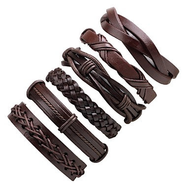 6pcs Stack Leather Bracelet