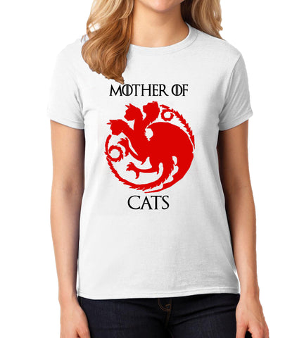 Polera Mujer Mother Of Cats Blanca, Game Of Thrones,