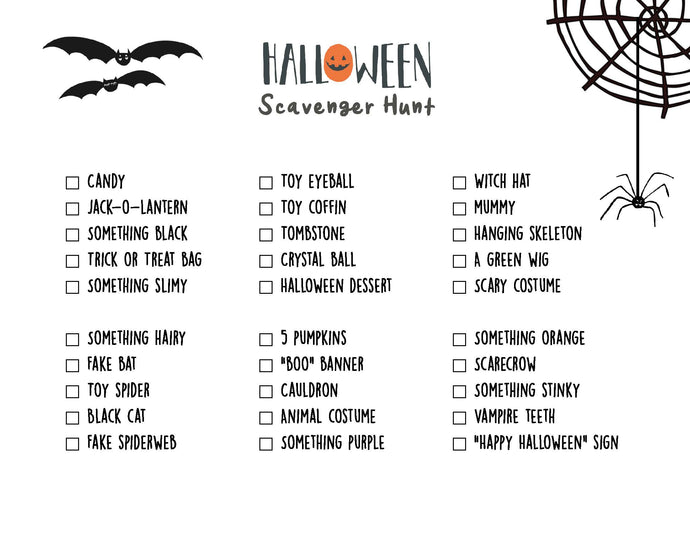 Free Printable Halloween Neighborhood Scavenger Hunt