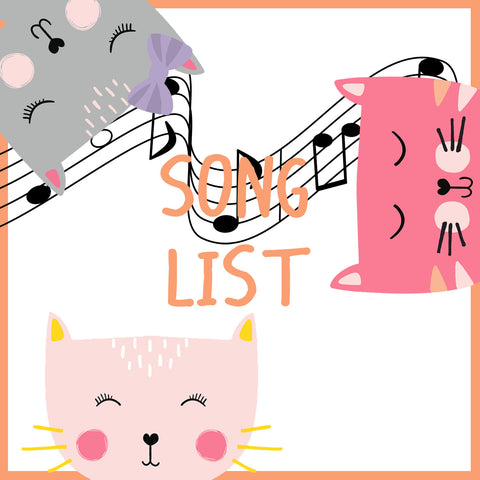 Cat themed song list for cool cats birthday party