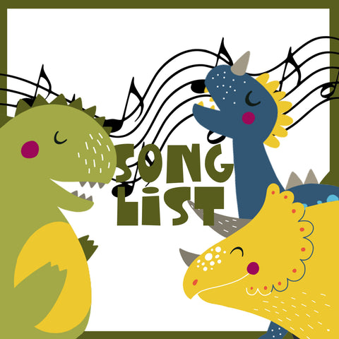 Dinosaur song list for dinosaur kids party in graphics