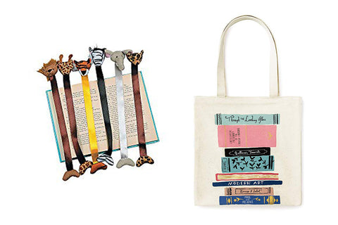 Plush zoo animal bookmarks and Kate Spade library tote