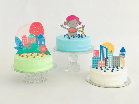 Fairy cake topper, mermaid cake topper, and superhero city cake toper