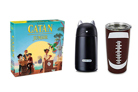 Catan Jr board game and travel mug with cat ears