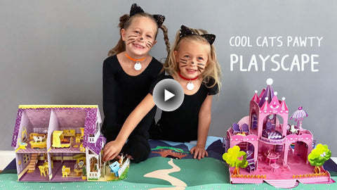 Cool cats playscape with toy cat house and toy cat palace for children