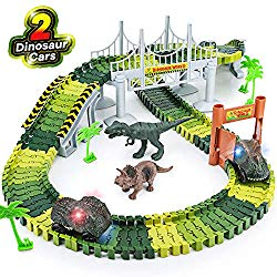 Dinosaur race track toy playset