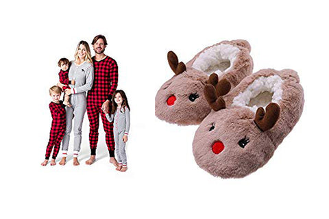 Reindeer slippers and family matching union pajamas