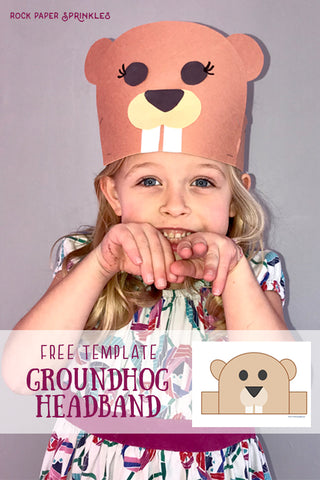 Free template for a groundhog headband for kids