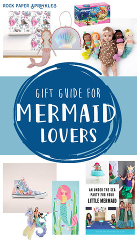 Mermaid gift guide with mermaid shoes and toys