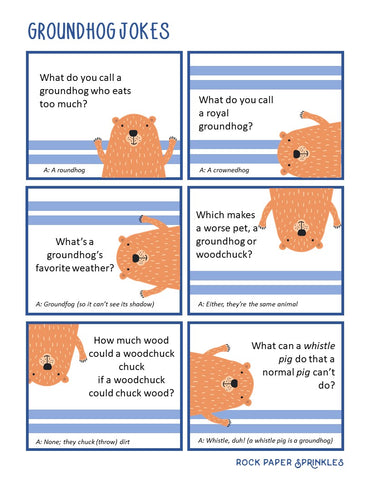 Free printable Groundhog jokes for kids