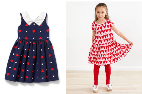 Girls heart print dresses