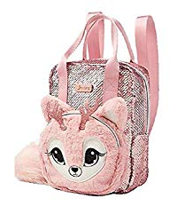 justice pink sparkle reindeer cute animal backpack
