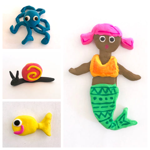 Small clay figures of an octopus, snail, fish and mermaid