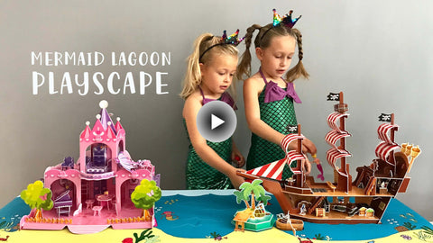 Mermaid playscape toy with pirate ship and palace