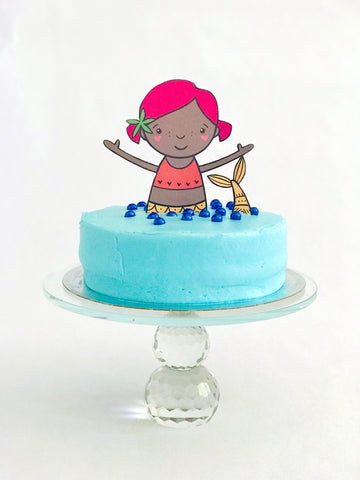 Mermaid cake with mermaid cake topper with pink hair