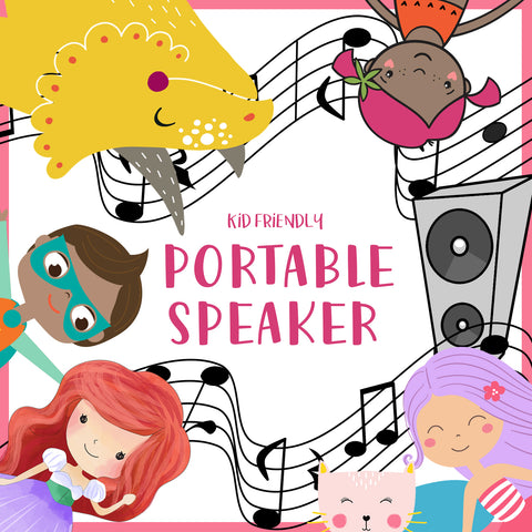 "Album cover that says ""Kid Friendly Portable Speaker"" with graphics of characters"