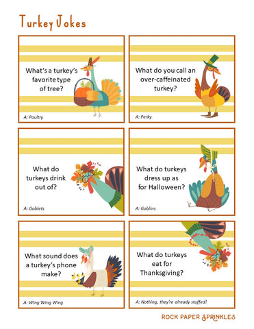 Printable thanksgiving jokes for kids with funny graphics of turkeys