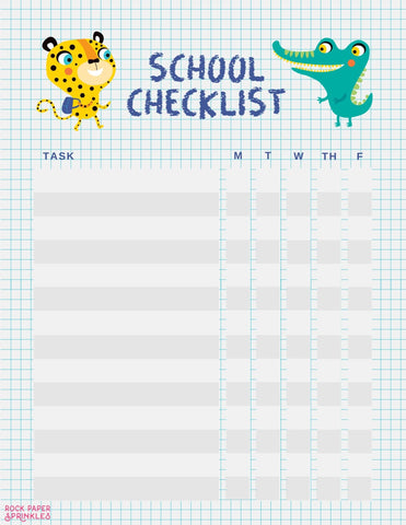 Free school checklist template