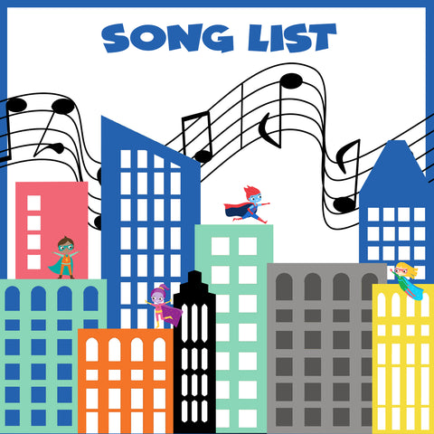 Superhero themed song list graphic album cover