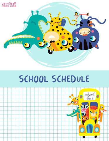 Table tent free school schedule template