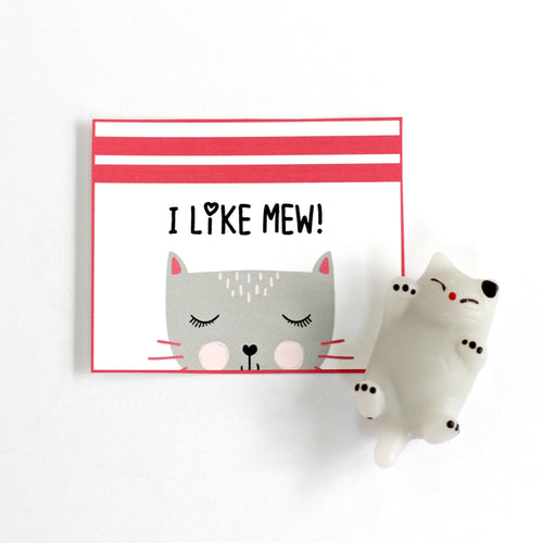 Valentine's Day Card Kit for Kids: CAT Cards + Favors (set of 6)