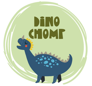 Dinosaur graphic with Dino Chomp text