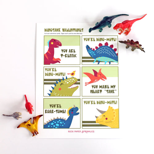 Valentine's Day Card Kit for Kids: DINOSAUR Cards + Favors (set of 6)