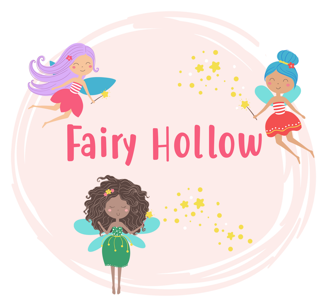 Fairy graphic with fairies and the words Fairy Hollow