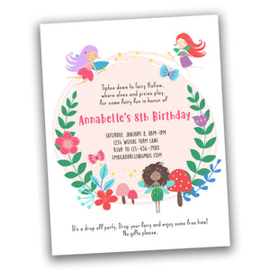Fairy invitation for fairy birthday party